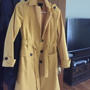 Jackets & Blazers - Yellow trench jacket with button detail